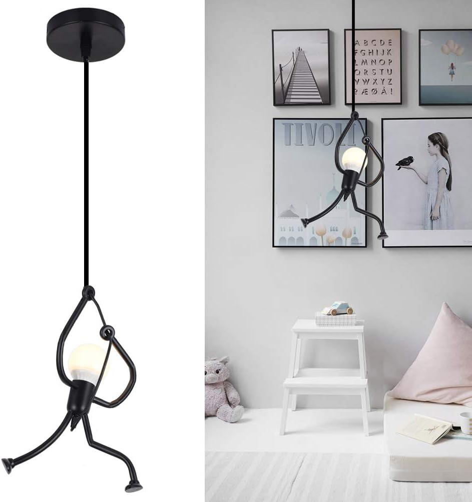 Unique Pendant Light Fixture Lamp, Creative Small Metal Chandelier Lighting, Adjustable Hanging Fixture Light for Dining Room Kids Room