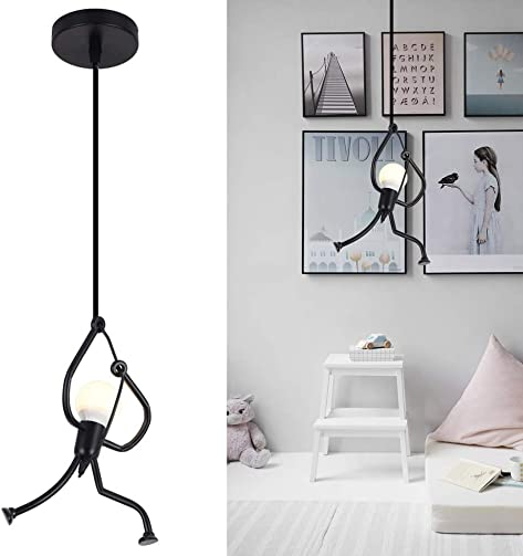 Unique Pendant Light Fixture Hanging Lamp, Creative Small Metal Black Chandelier Lighting, Adjustable Hanging Light Fixtures for Kids Room Bedroom Dining Room