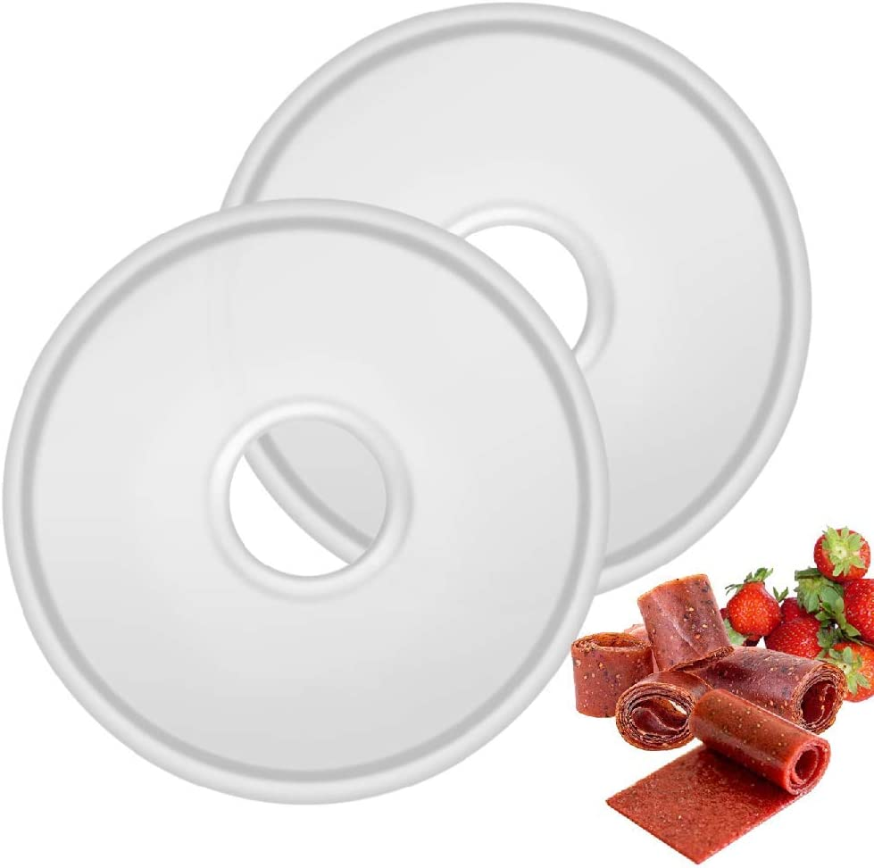 Flexzion Round Fruit Leather/Fruit Roll Up Tray for Electric Food Dehydrator Machine (11 7/8 inch) 2 Pack Nonstick Reusable Tray Liners Sheets for Dry Fruit Sheet Snacks Rolls