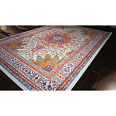 Generations pre8023White_8x10 Oriental Traditional Isfahan Persian Area Rug, 8' x 10.5', Light Blue/Navy/White/Orange/Yellow/Crimson Red