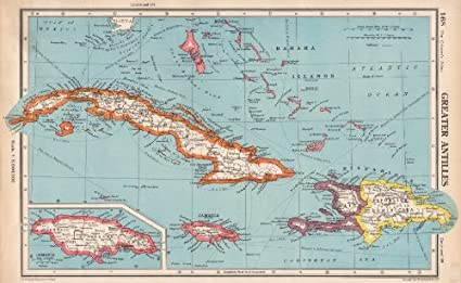 Amazoncom GREATER ANTILLES Cuba Hispaniola Jamaica Bahamas Haiti - Vintage map of cuba