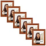 Langdons 8x10 Picture Frame Set (6-Pack, Honey Brown) Solid Wood Photo Picture Frames 8x10, Wall Hanging or Table Top, Display Picture Frame 8x10 Vertically or 10 x 8 Horizontally, Richland Series