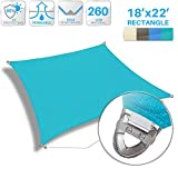 Patio Paradise 18'x 22' Strengthen Large Sun Shade Sail Reinforced by Steel Wire- Turquoise Green Rectangle Heavy Duty Permeable UV Block Fabric Durable Patio Outdoor Garden Backyard