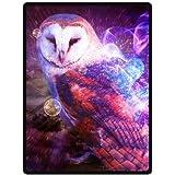 owl Comfortable Custom Unique Fleece Throw Blanket 58x80inch (Large)