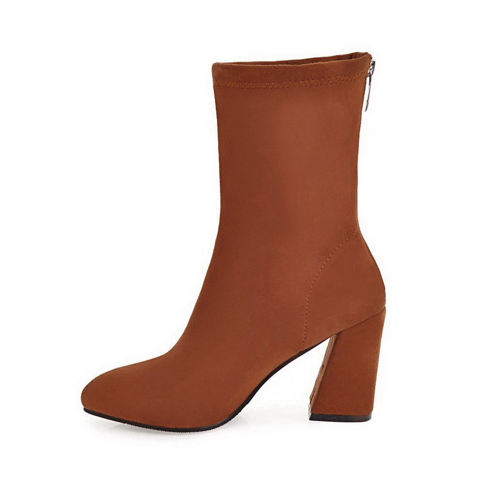 BalaMasa Womens Suede Solid Mid-Calf Zipper Chunky Heels Suede Womens Boots ABL10621 B0792SGBHZ Boots 2598df