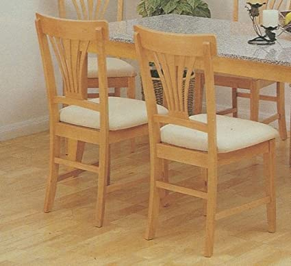 Amazon Com Set Of 2 Maple Finish Wood Dining Chair Chairs
