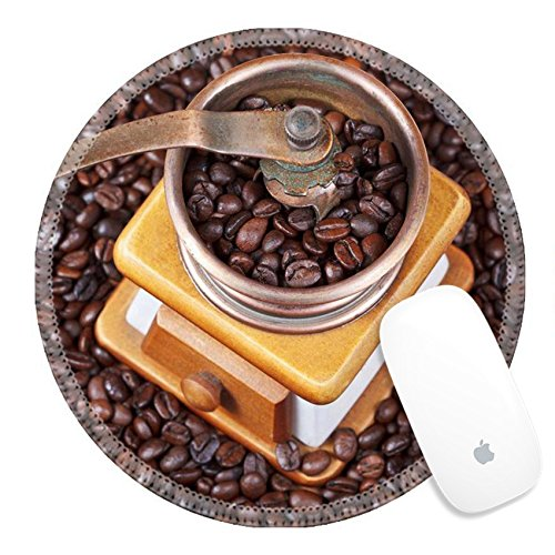 Price comparison product image Luxlady Round Gaming Mousepad 24414273 top view of retro manual coffee grinder on many roasted coffee beans