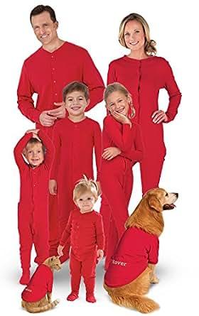 PajamaGram Onesie Dropseat Matching Family Pajama Set, Women X-Small (2-4), Red