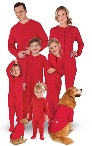 PajamaGram Family Christmas Pajamas Onesie - Women's, Dropseat, Red, M, 8-10