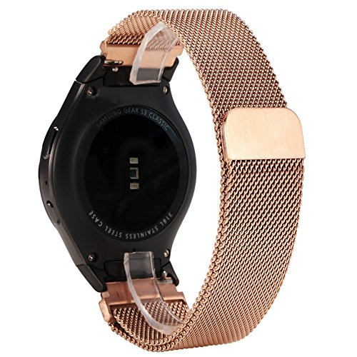 Gear S2 Bands, Valkit Milanese Loop Smart Watch Band Magnetic Stainless Steel Wristband Mesh Large/Small Metal Bracelet Replacement Strap with Adapter Connector for Samsung Gear S2 720/730, Rose - Gold S2