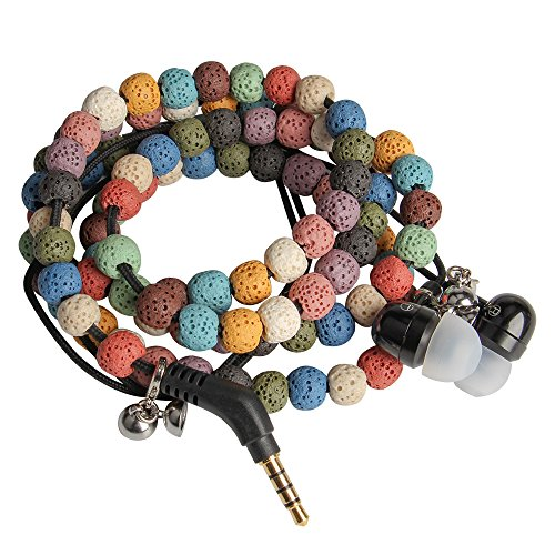 Bracelet Wristband Rock - URIZONS Natural Stone Rock Lava Beads Beaded wearable Braided Wristband In Ear Earphones, Headsets with Microphone Remote for iPhone, iPad, Mac, Laptop Android Devices Fabric Bracelet Style (Colorful)