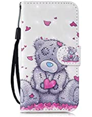 TTNAO Compatibel met Samsung Galaxy A21S Telefoon Case+1* Hand Strap 3D Visual Magnetische Lederen Flip Stand Kaarthouder Beschermende Cover (Love Bear)