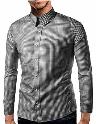 WSPLYSPJY Men's Slim Fit Plaid Long Sleeve Button Dress Shirts