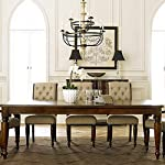 7-Piece Rectangular Dining Table Set Brown Tan Traditional Transitional Rectangle Acacia Veneer Wood Finish Extension…