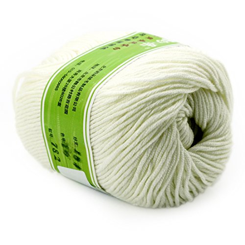 Worsted Fiber - joylve Knitting Yarn Skein Baby Super Smooth Worsted Soft Natural Silk Wool Fiber Milky-White