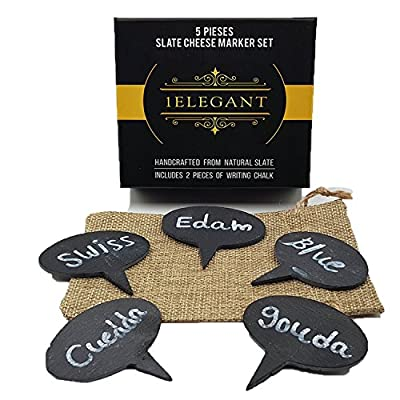 Cheese Markers Pro Set of 4 - 3 Cheese Labels Made of Real Porcelain and Bonus 1 Black Pen, Chalk Markers, Advanced Cheese Name Tags, Kitchen Tool By 1ELEGANT
