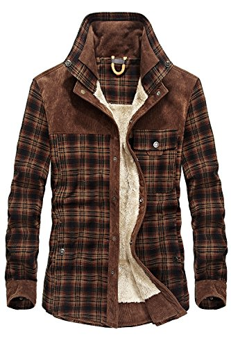 (Mr.Stream Men's Outdoor Casual Vintage Long Sleeve Plaid Flannel Button Down Shirt Jacket XL Red Coffee)