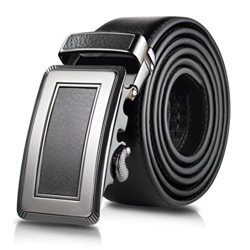 Black Ratchet - Mio Marino Classic Ratchet Belt - Premium Leather - 1.38 Wide - Adjustable Buckle - Free Gift Box - Framed Ratchet Belt - Black - Adjustable from 26