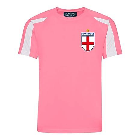 Camiseta de fútbol para niños Personalizable, diseño de Inglaterra, Color Rosa y Blanco,