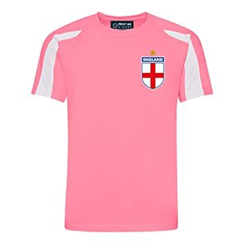 Print Me A Shirt Camiseta de fútbol para niños Personalizable, diseño de Inglaterra, Color Rosa y Blanco: Amazon.es: Deportes y aire libre