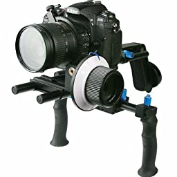 Digital DSLR Shoulder Mount Rig with COUNTER WEIGHT and Follow Focus for Camcorder Steady DSLR Video Cam Camera WYRL02SET