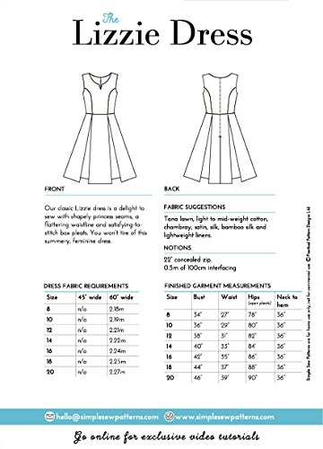 Patrón de costura simple para mujer de la marca The Lizzie vestido sin mangas patinador aventurero principiantes tallas 8 - 20: Amazon.es: Hogar