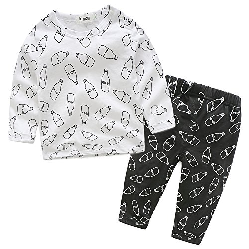 Baby Boys Clothes Set Long Sleeve Letter T-shirt Tops Pants Outfit Fall Winter Spring (95(24-30 Months), White #9) (27 Piece Letter)