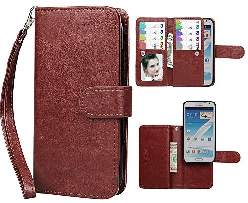 Samsung Note 2 Case, xhorizon TM FLK Premium Leather Folio Wallet Magnetic Purse Flip Book Style Multiple Card Slots Cash Case Cover for Samsung Galaxy Note 2 N7100 (Coffee) (Note2 Flip Window Cover)