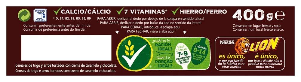 Cereales Nestlé Lion - Cereales de trigo y arroz tostados con crema de caramelo y chocolate - 400 gr: Amazon.es: Amazon Pantry