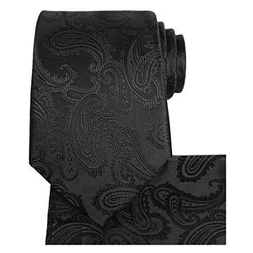 KissTies Mens Black Tie Set: Paisley Necktie + Pocket Square (Tie Black Formal)