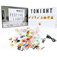 A4 Light Box,Delicacy A4 Cinematic Enhanced Light Box Light Up Your Life Letter Box with Total 189 Characters and Colorful Symbols(104 letters and 85 symbols)