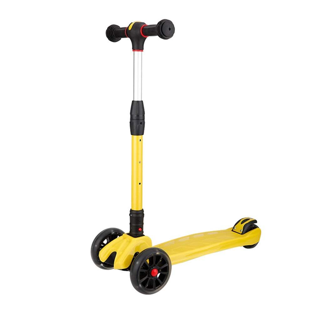 Wink zone 子供の三輪スクーターに適して、男性と女性のために利用できる、利用できる、折り畳まれたフラッシュ、バランススクーター、さまざまな色にすることができます 購入へようこそ ( Color : 黄 )