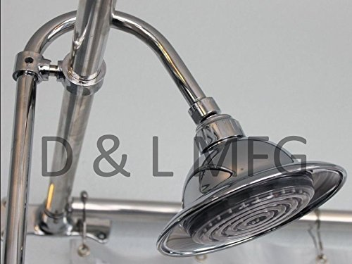 Claw Foot Add A Shower with 60'' D Rod and Faucet with Ceramic Cartridges and Shower Head by D&L (Image #1)
