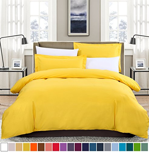 Quilt Set Twin Single (SUSYBAO 100% Natural Cotton 2 Pieces Duvet Cover Set Twin/Single Size 1 Duvet Cover 1 Pillow Sham Bright Yellow Luxury Quality Soft Breathable Comfortable Fade Stain Resistant Bedding with Zipper Ties)