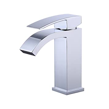 Attirant KES L3109A1LF Single Handle Waterfall Bathroom Vanity Sink Faucet With  Extra Large Rectangular Spout, Chrome