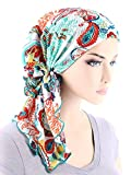 The Bella Scarf Chemo Turban Head Scarves Pre-Tied Bandana For Cancer Plisse Multi Colored Paisley