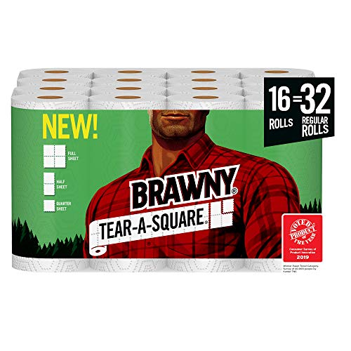 Brawny Tear-A-Square Paper Towels, Quarter Size Sheets, 16 Count (Best Place To Find Bathroom Vanities)