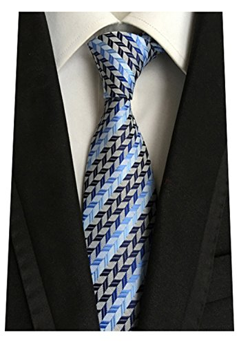 - MENDENG New Men's Dark Blue Light Blue Striped Silk Tie Business Wedding Necktie