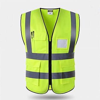 Chaleco de Seguridad Fluorescente, Chaleco Reflectante de Seguridad, Alta Visibilidad Chaleco Reflectante de Seguridad con Bolsillos y Cremallera para Trabajos al Aire Libre, Ciclismo, Caminar: Amazon.es: Industria, empresas y ciencia