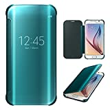 Xtra-Funky Range Samsung Galaxy S6 Edge Smart Date / Time View Mirror Shiny Flip Hard Case Cover With Sleep / Wake Function - Electric Blue