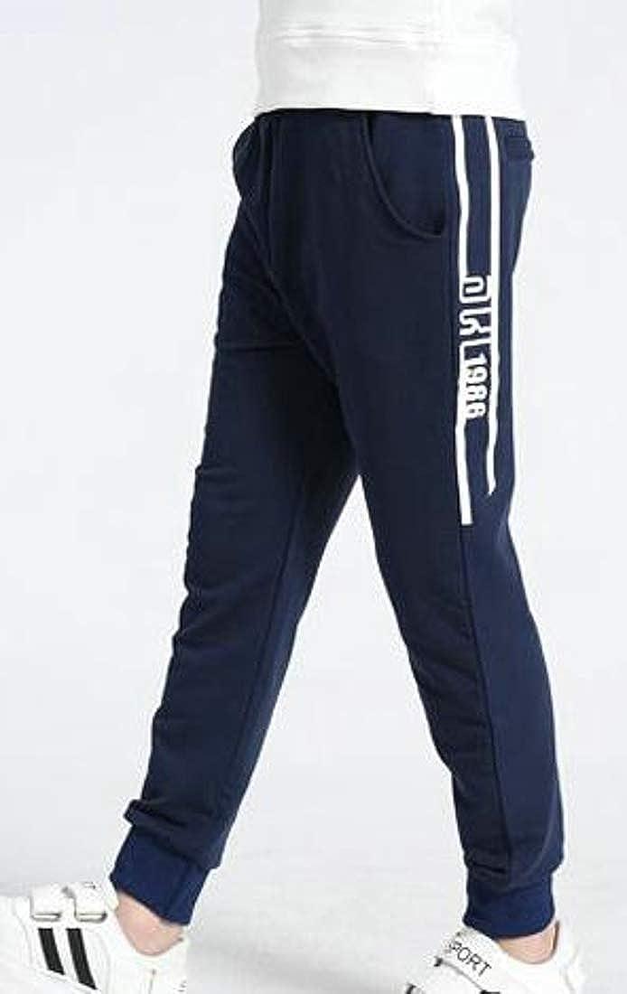 Macondoo Big Boys Jogging Classic Fit Sport Comfortably Elastic Waist Pants
