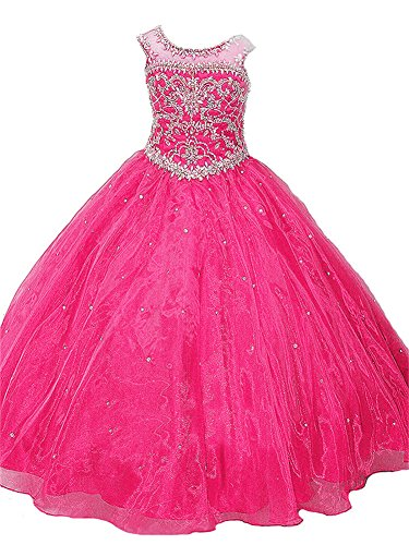 JinJia Long Beading Ball Gown Formal Party Dress Girl Ruffles Organza Pageant Dresses 6 US Hot Pink