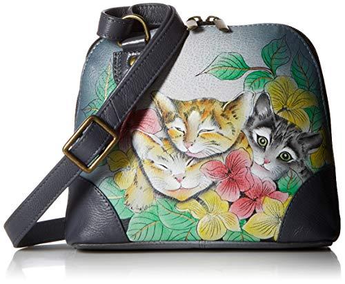 Anna by Anuschka Organizer Handbag | Genuine Leather | Three Kittens