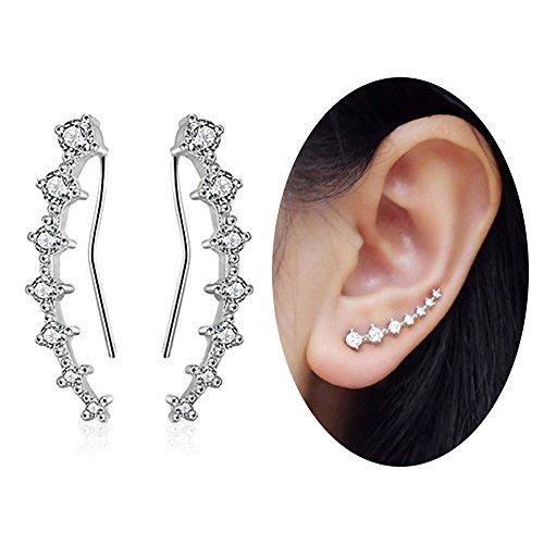 (Aifeer Ear Climber Crawler Cuff Earrings - 925 Sterling Silver - 7 CZ Cubic Zirconia Rhinestones Ear Pins)