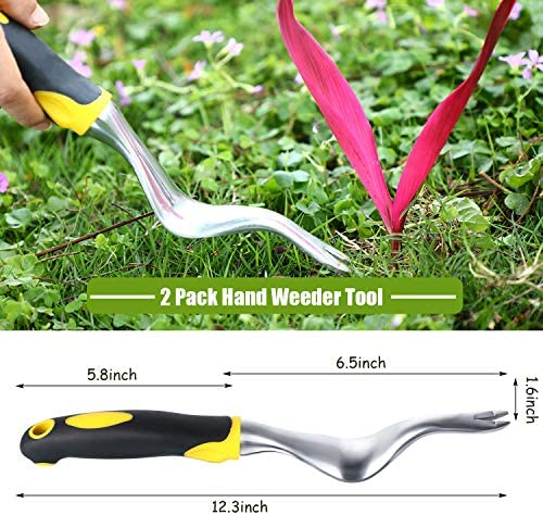 AHANDMAKER Hand Weeder 2 Pieces Manual Weeder Weed Puller Weed Removal /& Deeper Digging Tool with Ergonomic Handle for Garden Lawn Farmland Transplant