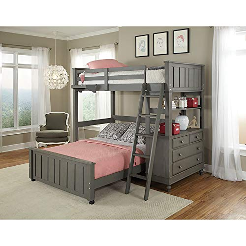 NE Kids Lake House Twin Bunk Bed with Full Lower Bed in Stone - Loft Lower Bunk