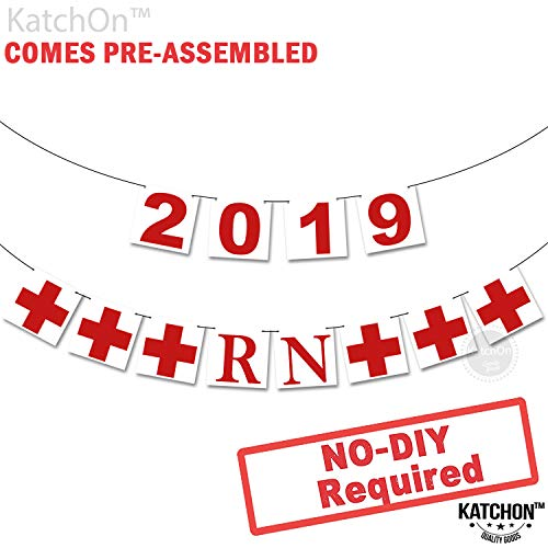 2019 RN Banner, Nurse Party - Assembled - RN Graduation Party Decorations| Nurse Graduation Party Supplies 2019 |Red and White Gradution Decorations, Medical Nurses Nursing Party, No DIY. Felt Banner -