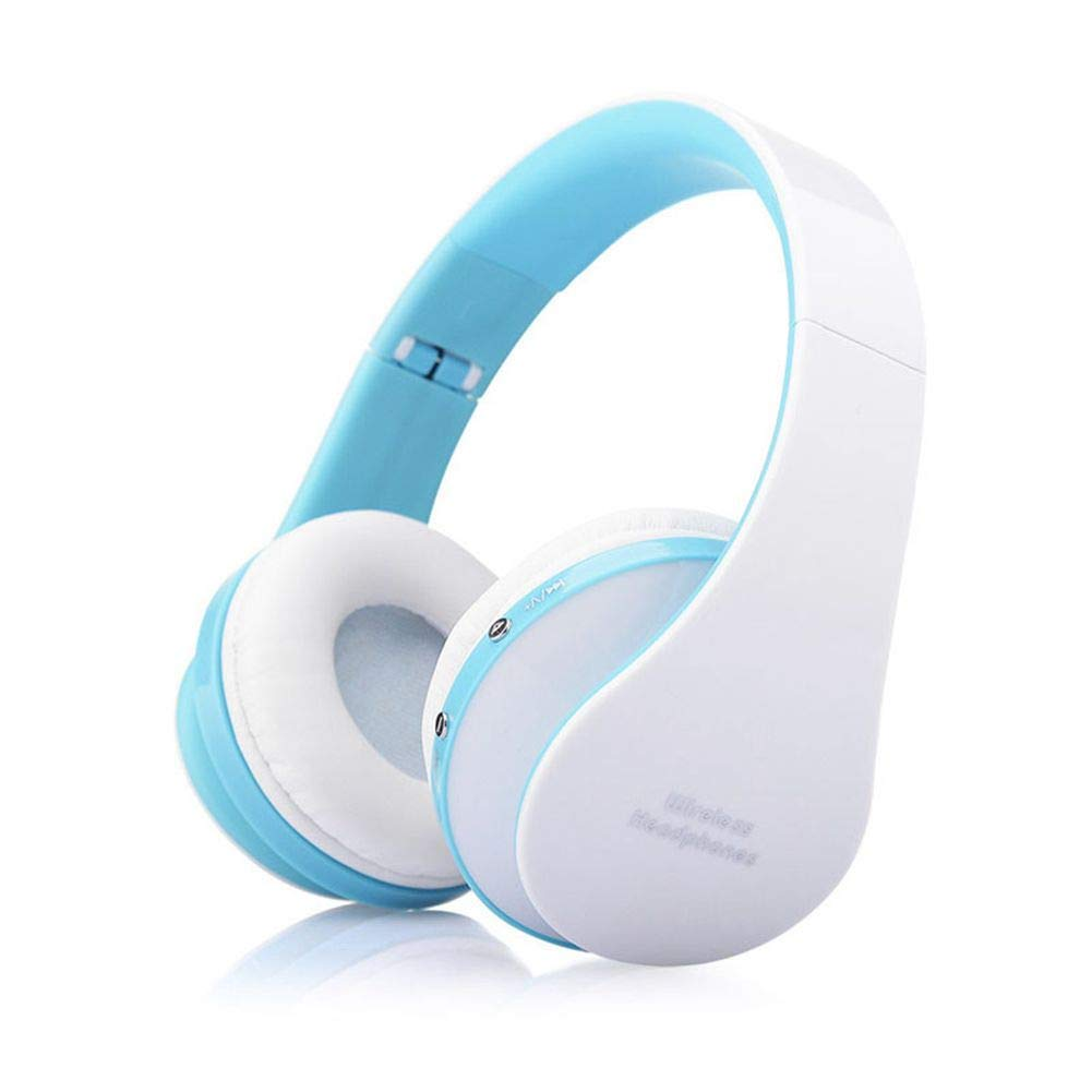 Over Ear Headphones, Libison Foldable Wireless Bluetooth Stereo Headset Handsfree Headphones Mic Blue