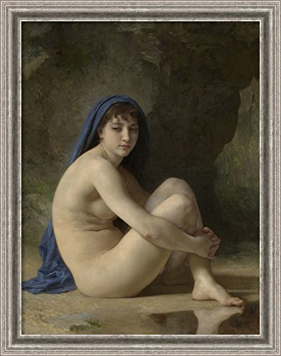 (Framed Canvas Wall Art Print | Home Wall Decor Canvas Art | Seated Nude, 1884 by William Adolphe Bouguereau | Casual Decor | Stretched Canvas Prints)