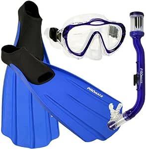 Promate Junior Snorkeling Scuba Dive Mask Dry Snorkel Full Foot Fins Set for Kids